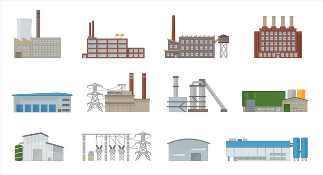 Factory building icon vector set in flat style. Power plant, manufacturing, industrial and warehouse buildings. Isolated from background.