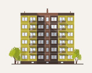 Fototapete - Tall multistory city panel building built in modern architectural style. Urban living house isolated on white background. Real estate architecture and construction. Flat colored vector illustration.