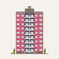 Wall Mural - Modern pink prefabricated panel building built in Soviet architectural style. Exterior or facade of residential house with balconies isolated on white background. Flat colorful vector illustration.