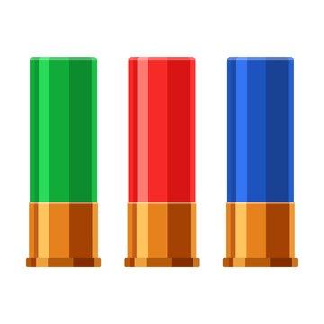 Shotgun shell hunting cartridges vector set. Bullets shot gun isolated on white background. Vector illustration