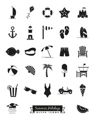 Summer Holidays Glyph Icon Set. Vector collection of summer holiday, beach and seaside solid black symbols