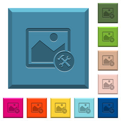 Image tools engraved icons on edged square buttons
