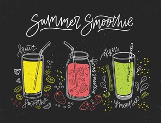Collection of smoothies made of tasty fresh fruits, berries and vegetables in glasses and jar with straws. Banner with healthy detox beverages, delicious soft drinks or cocktails. Vector illustration.