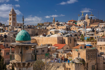 Jerusalem. Cityscape image of christian quarter of old town Jerusalem, Israel during sunny day.