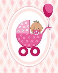 Newborn baby, girl, postcard, Africa, pink rhombus, vector. A little girl in a pink stroller. A pink balloon is tied to the stroller. Color, flat card. Congratulation. Pink diamonds on a pink field.