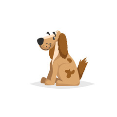 Cartoon brown dog sitting. Pet animal vector illustration. Symbol of chinese 2018 year. Isolated on white background.