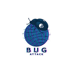 Bug attack logo template. Symbol of digital virus attack with bug and planet. Hacker icon with glitch effect isolated on white background. Vector illustration.