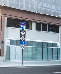 Interstate 75 Sign. Directional sign for Interstate 75 in downtown Detroit, Michigan.