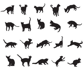 Set of cats silhouettes-2