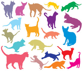 Set of colorful cats silhouettes-2