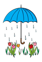 A Blue umbrella above tulips with raindrops in the background.
