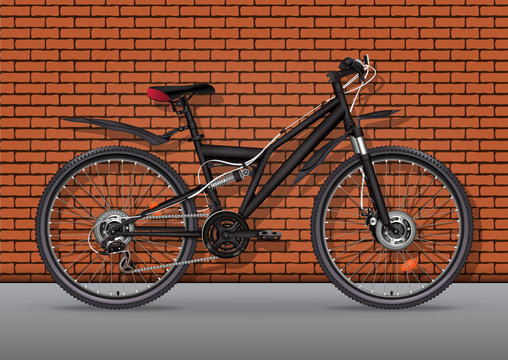 Bicycle vector realistic illustration. Black metallic bike half-face with many multiple details standing on asphalt against a brick wall background, 3D drawing