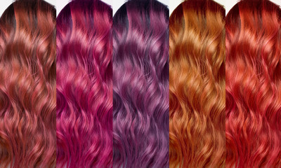Hair Collection, shades, set of five colors. Curls hair