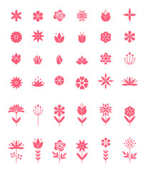 Set of flat icon flower icons in silhouette isolated on white.
