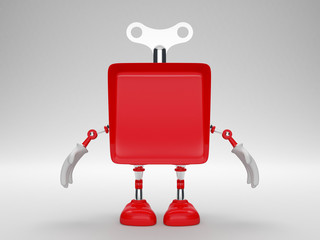 Red toy robot cubes with hands and legs