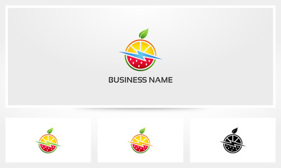 Orange Watermelon Fruit Healthy Power Logo