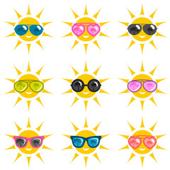 set of sun icons with sunglasses