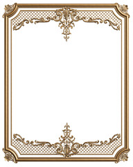 Classic moulding golden frame with ornament decor for classic interior isolated on white background