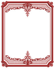 Classic moulding frame red color with ornament decor for classic interior isolated on white background
