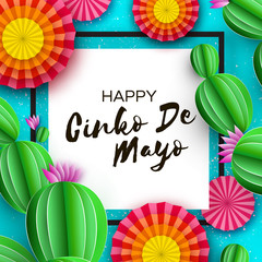 Happy Cinco de Mayo Greeting card. Colorful Paper Fan and Cactus in paper cut style. Mexico, Carnival. Square frame on blue. Space for text.