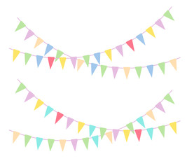 Multicolored bright buntings garlands.