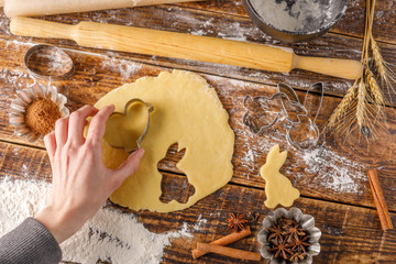Wall Murals Painterly Inspiration The process of cooking figured cookies. Hand with dough for dough.