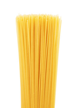 Spaghetti or capellini pasta transparent package, isolated on white background