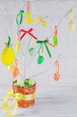 Easter tree with colorful eggs