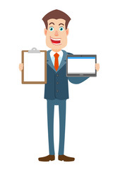 Businessman holding tablet PC and clipboard