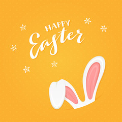 Orange background with rabbit ears and text Happy Easter