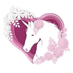 Fantastic beautiful composition - a portrait of a stylized unicorn surrounded by flowers on the background of a heart in the style of paper art.