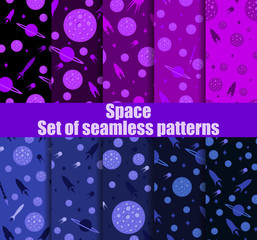 Space seamless pattern set. Galaxy, background with spaceships, asteroids and stars. Vector illustration