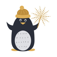Penguin in Yellow Cap and with Sparkler in Hand
