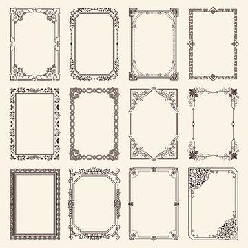 Vintage Swirly Black and White Elegant Frames Set