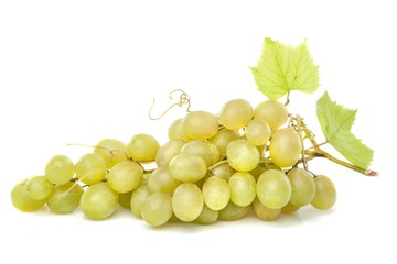 White Grape Cluster With Leaves