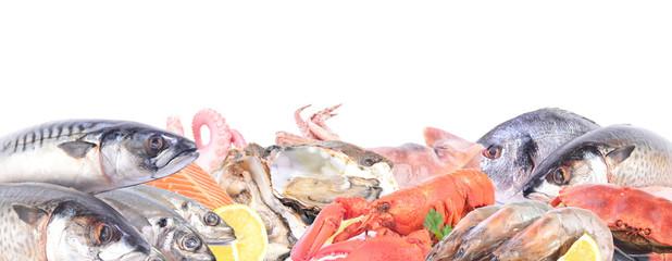 Seafood on a white background - fototapety na wymiar