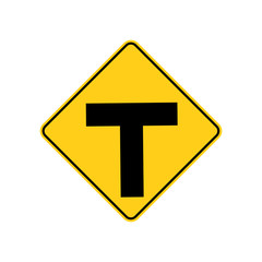 USA traffic road sign. intersection warning ahead,roadway end,must turn right or left. vector illustration