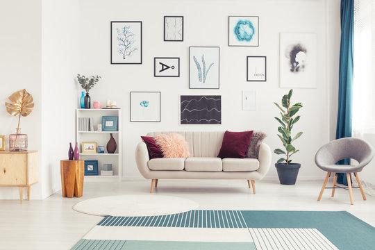 Art gallery in living room