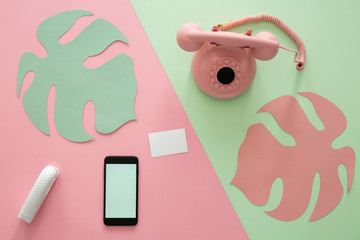 Pink vintage phone and smartphone