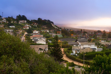 Panoramic view of the wealthy beach town of Santo Domingo, V Region, Chile