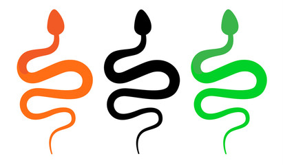 snake sign icon with green and orange vector color