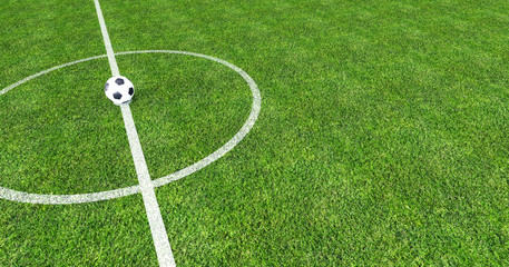 Football field with soccer ball in the center 3D Rendering