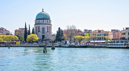 Daylight wide view to The Lido Of Venice church