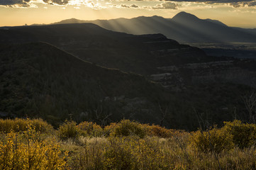 Ute Mountain at sunset from Mesa Verde National Park;  Colorado
