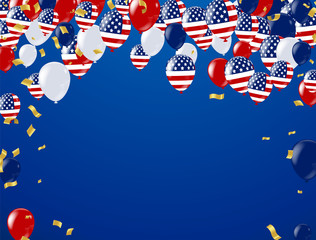Fourth of July. 4th of July holiday banner, Celebration Banner. National American Greeting. Vector with American flags, balloons, petards, confetti, streamers, hat, vector illustration