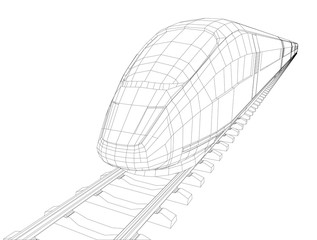 Abstract polygonal high-speed passenger train