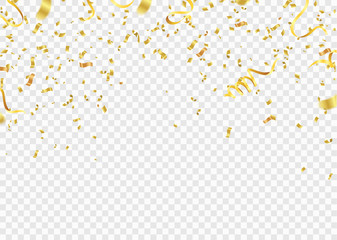 Celebration background template with confetti and gold ribbons.and Gold White ribbons. Vector illustration