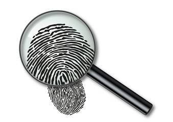 Empreinte - empreinte digitale - identité - crime - police - loupe - identification - enquête - identifier