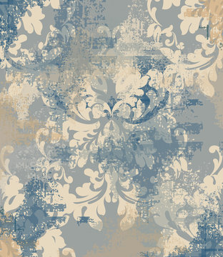 Vector damask pattern element. Classic luxury ornament on grunge background. Royal Victorian texture for wallpapers, textile, fabric, wrapping. Exquisite floral baroque templates