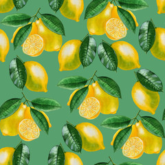 Ripe lemons Watercolor set. Citrus pattern on green background. Design elements for background, banner,holiday card design. Hand painting artistic texture